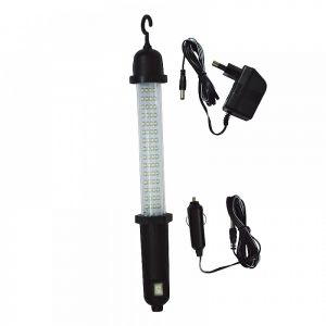 Led portable lamp black 60 +1 Led complete with batteries 3xAA, adapter
